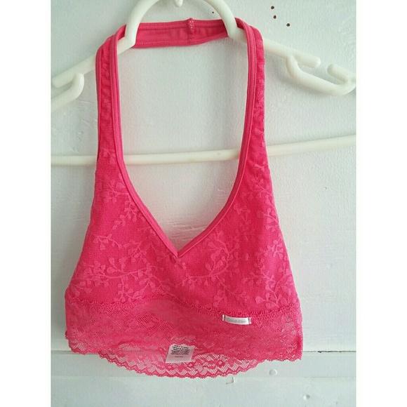 2c871dd5afb NWT Calvin Klein Bare Lace Pink Halter Bralette XS